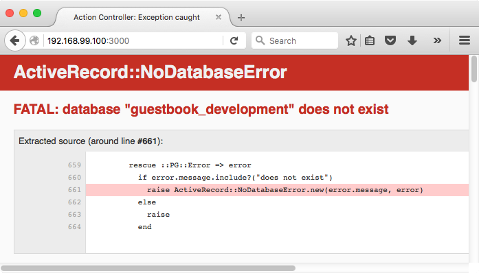 Rails app showing a ActiveRecord::NoDatabaseError error
