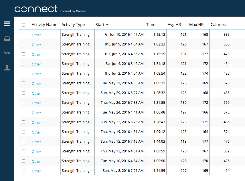 Garmin Connect Webapp - activity history