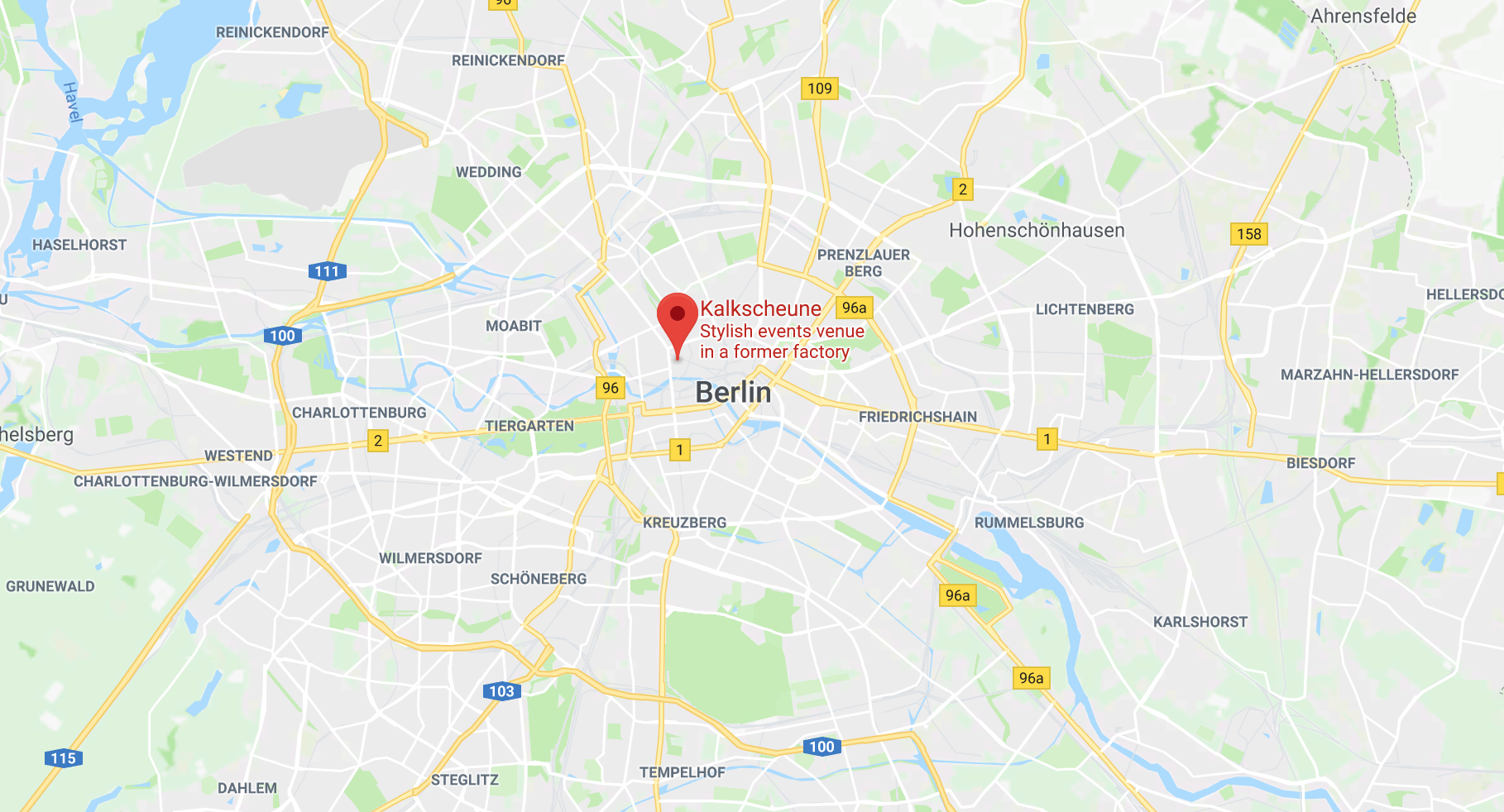 Screenshot of Google Maps showing the location of Kalkscheune
